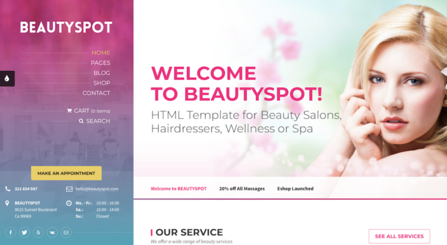 Template for a Spa website