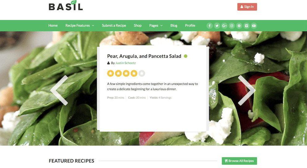 website for cooking blog