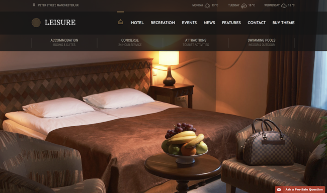 Template for hotel website