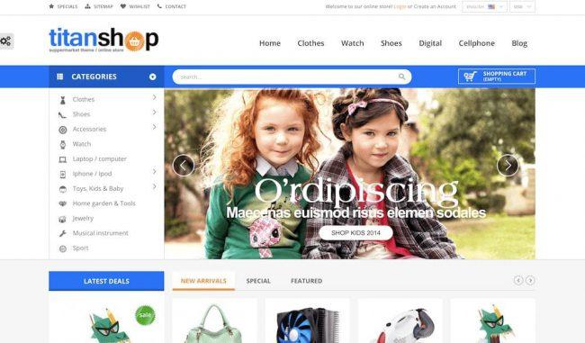 child clothes online shop template